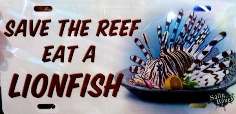 save the reef eat a lionfish license plate